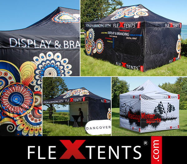 Digitalt fullt tryck på FlexTents® - de ledande hopfällbara tälten på marknaden