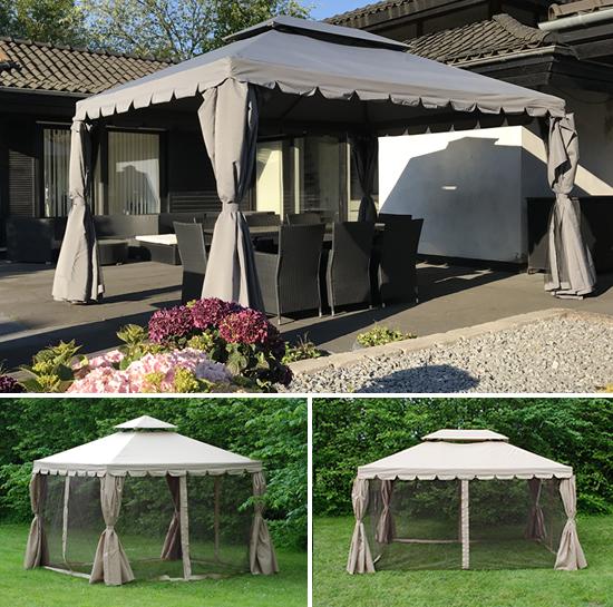 En elegant paviljong som en vacker mittpunkt i trädgården